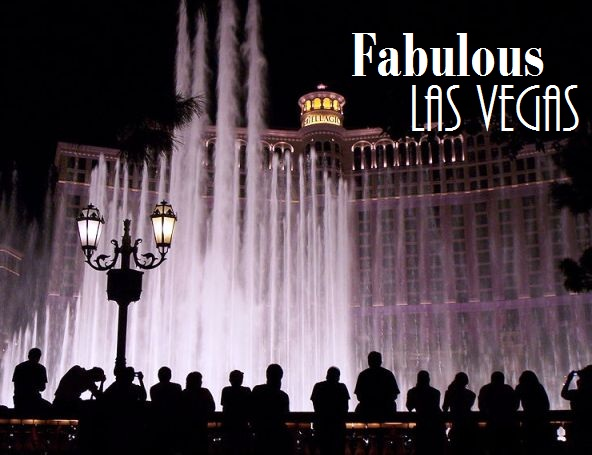 The Bellagio Hotel Fountain show at night