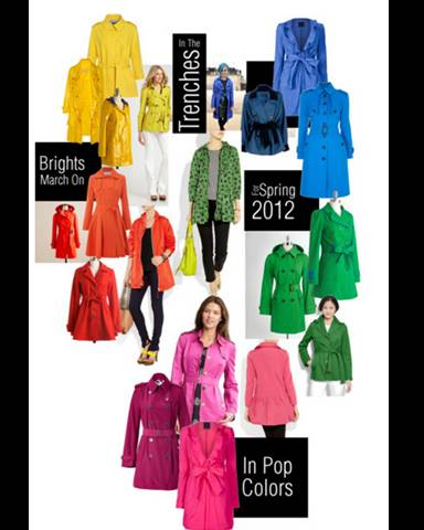Colorful Trench Coats March on for Spring