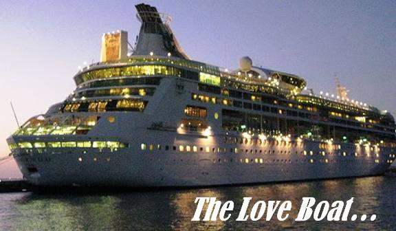 Ocean liner departing at night